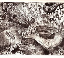 Honey badger and the pangolin by Grant Slabbert