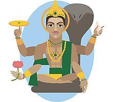illustration of Hindu deity lord Vishnu Photographic Print