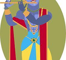 illustration of Hindu deity Lord Krishna flute by OlgaBerlet