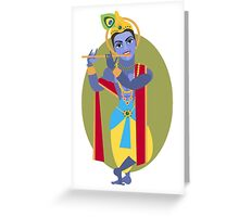illustration of Hindu deity Lord Krishna flute Greeting Card