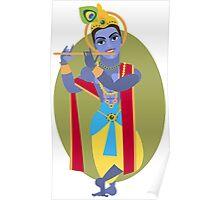 illustration of Hindu deity Lord Krishna flute Poster