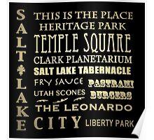 Salt Lake City Utah Famous Landmarks Poster