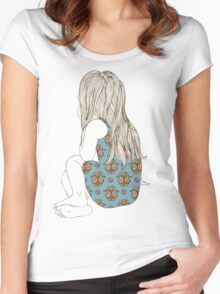 Little girl in a dress sitting back hair Women's Fitted Scoop T-Shirt