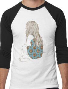 Little girl in a dress sitting back hair Men's Baseball ¾ T-Shirt