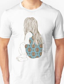Little girl in a dress sitting back hair T-Shirt