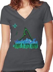 The Coast of Sharks Women's Fitted V-Neck T-Shirt