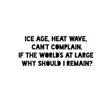 Ice Age, Heat Wave Photographic Print