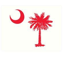 Red Palmetto Moon Art Print