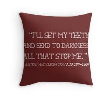 Send to Darkness Shakespeare Quote White Throw Pillow