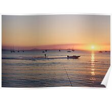 Keppel Boat Sunset Poster