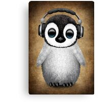 Cute Baby Penguin Dj Wearing Headphones Canvas Print