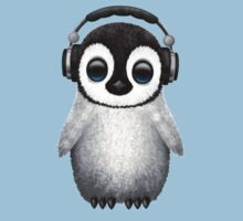Cute Baby Penguin Dj Wearing Headphones Kids Tee