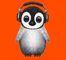 Cute Baby Penguin Dj Wearing Headphones Kids Clothes