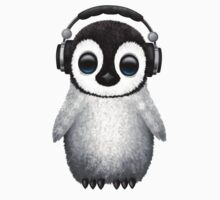 Cute Baby Penguin Dj Wearing Headphones Baby Tee