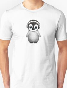 Cute Baby Penguin Dj Wearing Headphones Unisex T-Shirt