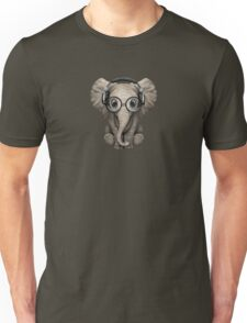 Cute Baby Elephant Dj Wearing Headphones and Glasses Unisex T-Shirt