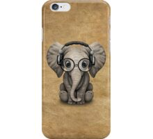 Cute Baby Elephant Dj Wearing Headphones and Glasses iPhone Case/Skin