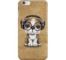 English Bulldog Puppy Dj Wearing Headphones and Glasses iPhone Case/Skin