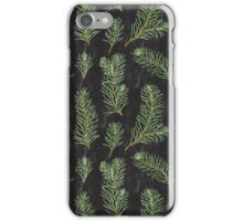 Watercolor pine branches pattern on black background iPhone Case/Skin
