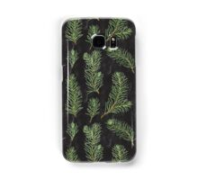 Watercolor pine branches pattern on black background Samsung Galaxy Case/Skin