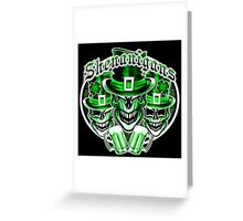 Laughing Leprechaun Skulls: Shenanigans 2 Greeting Card