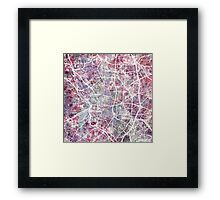 Madrid Watercolor Map Framed Print