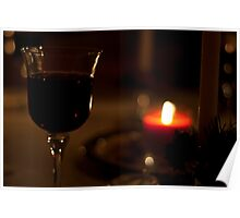A Glass of Red wine in candle-light. Poster