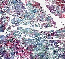 Stockholm Watercolor Map by MapMapMaps