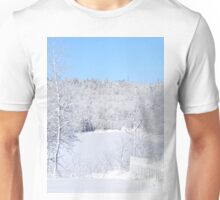 White Snow And Blue Skies Unisex T-Shirt