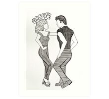 Grease Movie Illustration Danny and Sandy Art Print