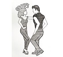 Grease Movie Illustration Danny and Sandy Photographic Print