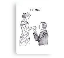 Titanic Jack and Rose Line Drawing Canvas Print