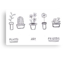 Plants are Friends (black and white) Canvas Print