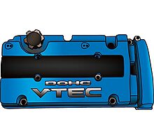 Honda H22 valve cover - Blue V.2 Photographic Print