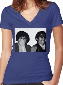 The Recliner Cast Logo! Women's Fitted V-Neck T-Shirt