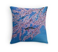 Love among the cherry blossoms Throw Pillow