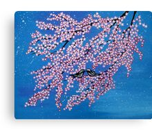 Love among the cherry blossoms Canvas Print