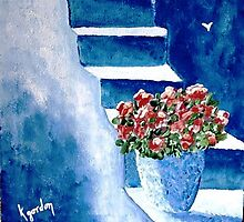 Flowers on Blue Steps by WhiteDove Studio kj gordon