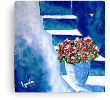 Flowers on Blue Steps Canvas Print