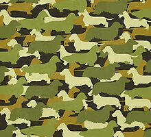 Distressed Camo Dachshund Silhouettes  by CanisPicta