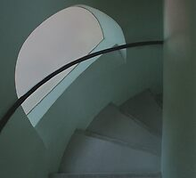 Spanish Spiral Stairs Of Gaudi by Reese Forbes