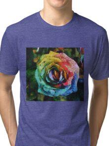 Rainbow Rose painting Tri-blend T-Shirt