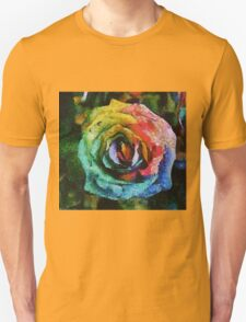 Rainbow Rose painting Unisex T-Shirt
