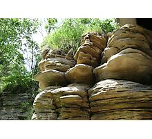 Segmented stratified rock in the sun Photographic Print