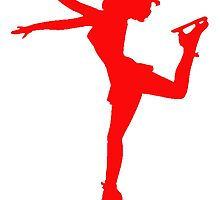 Red Figure Skate Silhouette by kwg2200