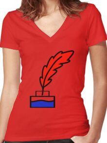 Writing Quill Women's Fitted V-Neck T-Shirt