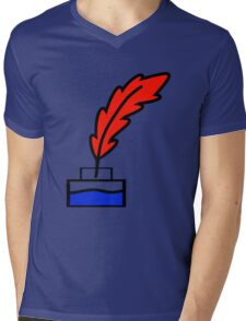 Writing Quill Mens V-Neck T-Shirt