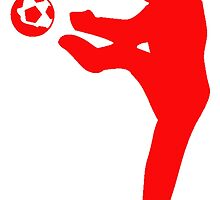 Red Soccer Player Silhouette by kwg2200