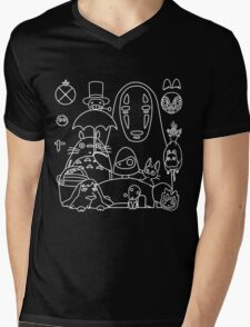 Ghibli in black Mens V-Neck T-Shirt