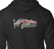 1957 Pink Cadillac at the Drive In. Zipped Hoodie